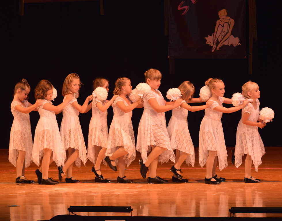 """. Taylor Fouch, Emory Monheiser, Alyssa Buckler, Makinley Sulliven-Squier, Zaly Blecha, Zara Conners, Daisey Barkley, Makenna Rye and Leah Bell dance to \""""Chapel of Love\"""" at Durante\'s Dance Studio\'s spring recital Saturday, June 10, 2017."""