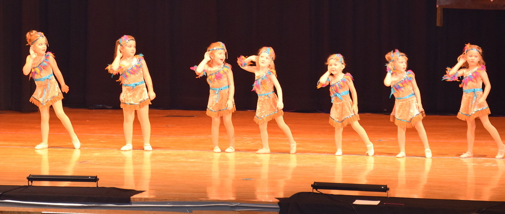 """. Jemma Horton, Addison Mason, Jenna Hoffner, Lainey Werner, Camille Lenz, Keirah Nelson, Laityn Bieber and Luella Hensley dance to \""""Color of the Wind\"""" at Durante\'s Dance Studio\'s spring recital Saturday, June 10, 2017."""