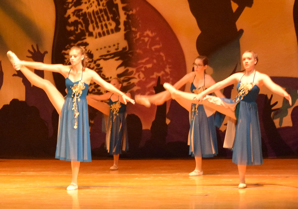 """. Abby Seyfang, Marissa Kujala, Chloe Fisher, Callyn Brecht, Kaina Carrasco, Courtney Canada, Addison Pasko, McKenzie Beck and Makaiden Pace dance to \""""Tme After Time\"""" during Durante\'s Dance Studio\'s \""""Dancing to the 80\'s\"""" recital."""