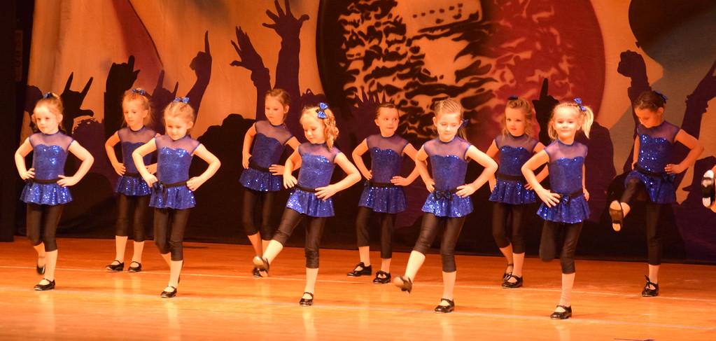 ". Remi Gerlach, Khloe McBride, Landree Ulrich, Brynlee Lock, Taysin Bostron, Lexus Martinez, Alisha Barker-Lopez, Lauryn Kracht, Kate Wright, Tavyn Lock Totten, Braya Kailey and Clair Park dance to \""9 To 5\"" during Durante\'s Dance Studio\'s \""Dancing to the 80\'s\"" recital Saturday, June 9, 2018."