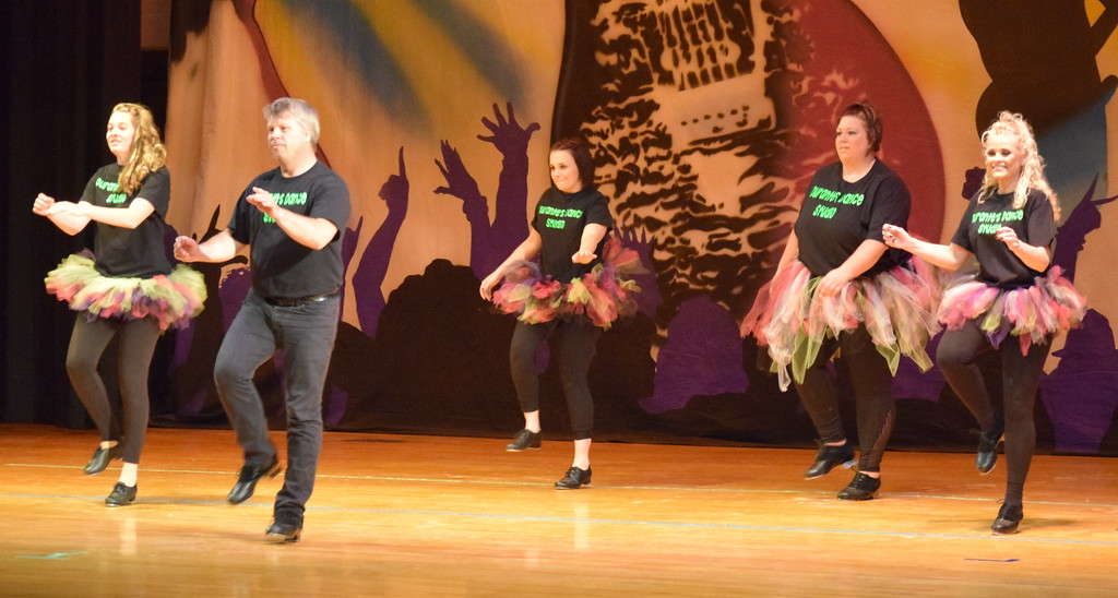 """. Tina Zimmerman, Misty Canada, Randy Finley, Samantha Swan and Melissa Wahlert dance to \""""Feel It Still\"""" during Durante\'s Dance Studio\'s \""""Dancing to the 80\'s\"""" recital Saturday, June 9, 2018."""