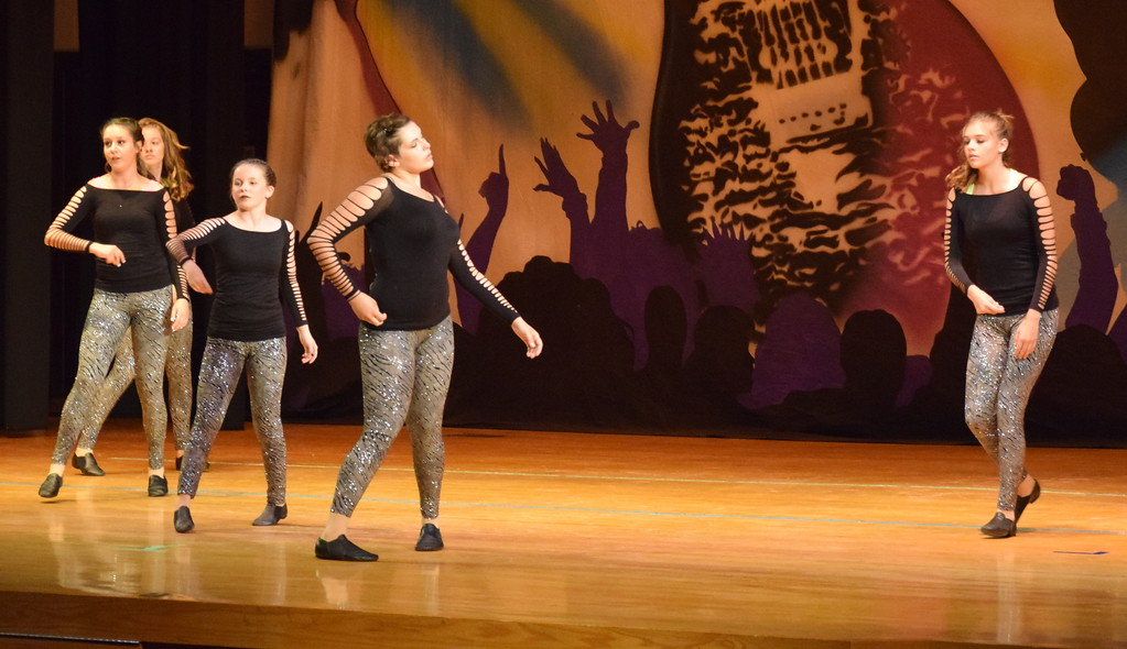 """. Lauren Rice, Chloe Fisher, Aly Young, Makaiden Pace, Melissa Wahlert and Nicki Smith dance to \""""You Don\'t Know Me/Swish/Tip Toe\"""" during Durante\'s Dance Studio\'s \'Dancing to the 80\'s\"""" recital Saturday, June 9, 2018."""
