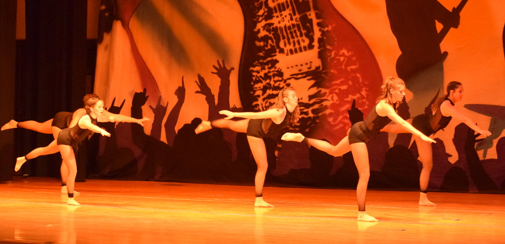 """. Lauren Rice, Chloe Fisher, Aly Young, Makaiden Pace and Melissa Wahlert dance to \""""Love Lies\"""" during Durante\'s Dance Studio\'s \""""Dancing to the 80\'s\"""" recital Saturday, June 9, 2018."""