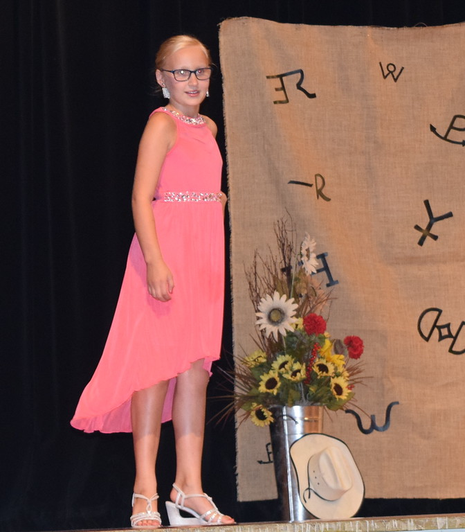 . Natalie Adels models her dress in the Encore Division of the Logan County Fair 4-H Fashion Revue Friday, Aug. 3, 2018.
