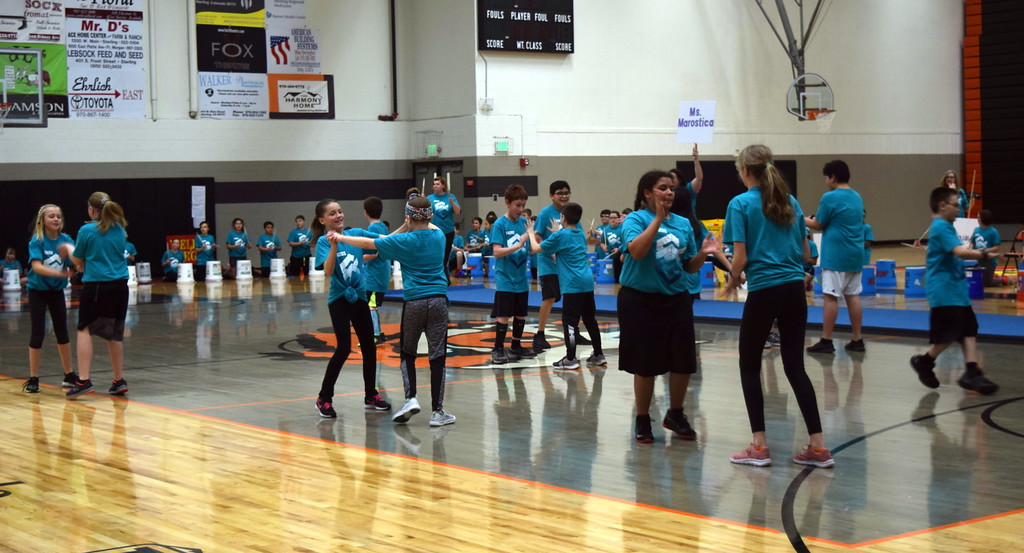 """. Campbell Elementary fifth graders show off their secret handshakes to the song \""""Classic\"""" during the annual 5th Grade Music and P.E. Showcase Tuesday, March 12, 2019."""