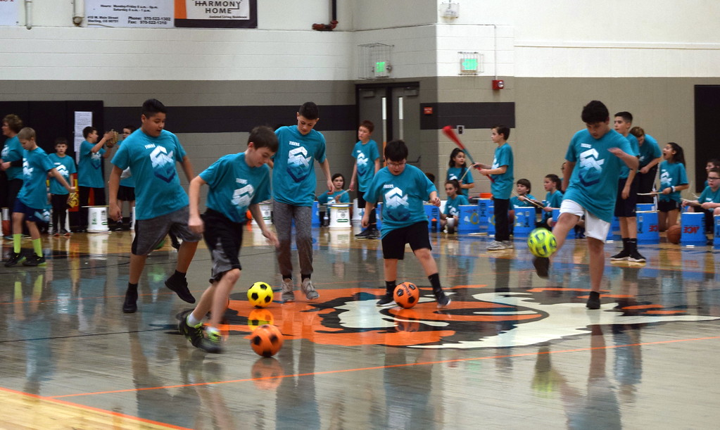 . Students demonstrate their soccer skills at Campbell Elementary\'s annual 5th Grade Music and P.E. Showcase Tuesday, March 12, 2019. The fifth graders also showed off other sports abilities, including volleyball, football, basketball and baseball.