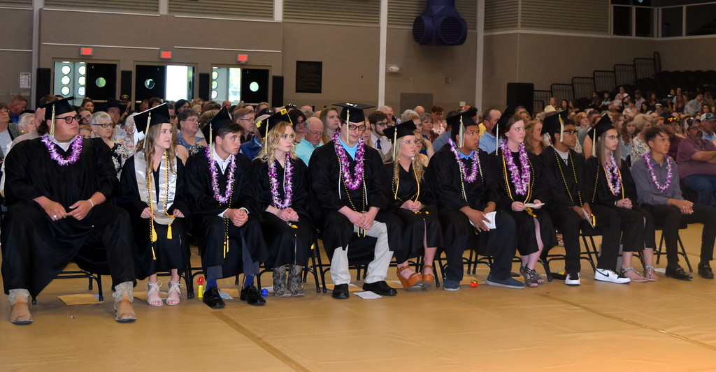 . Caliche High School graduates listen to a speaker at the commencement ceremony Saturday, May 25, 2019.