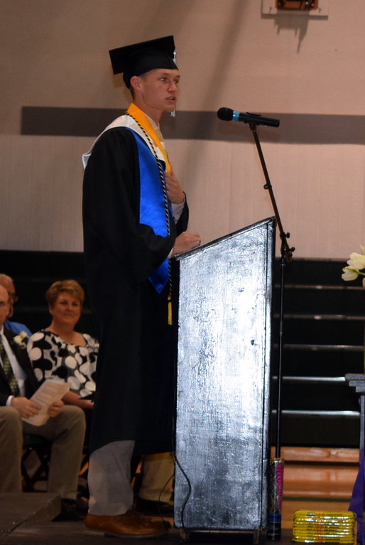 . Senior President and Salutatorian Garrett Cockroft gives remarks at Fleming High School\'s commencement ceremony Sunday, May 19, 2019.