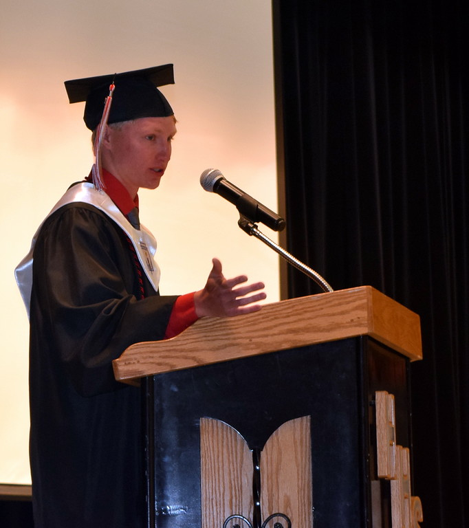. Valedictorian Eli Meakins gives remarks at Haxtun High School\'s Commencement Ceremony Sunday, May 19, 2019.