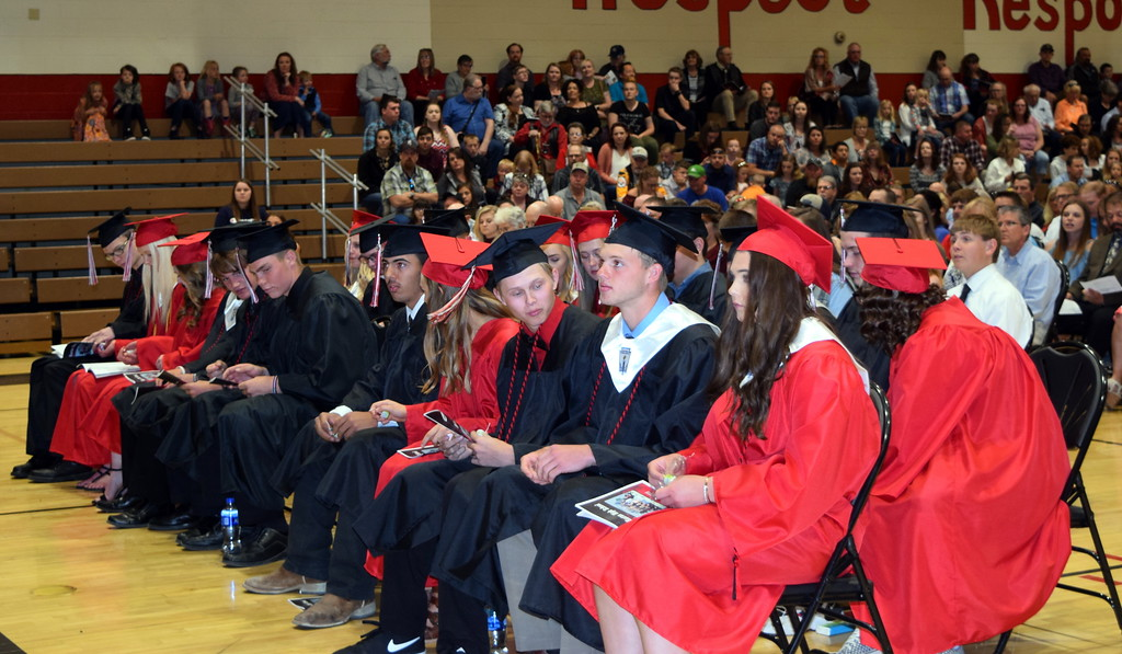 . Haxtun High School\'s class of 2019 listen to a speaker at the commencement ceremony Sunday, May 19, 2019.