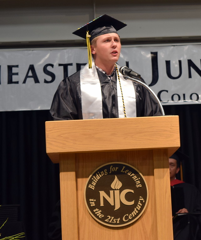 . Associated Student Government President Patrick Shields gives remarks at the Northeastern Junior College Commencement Ceremony Friday, May 17, 2019.