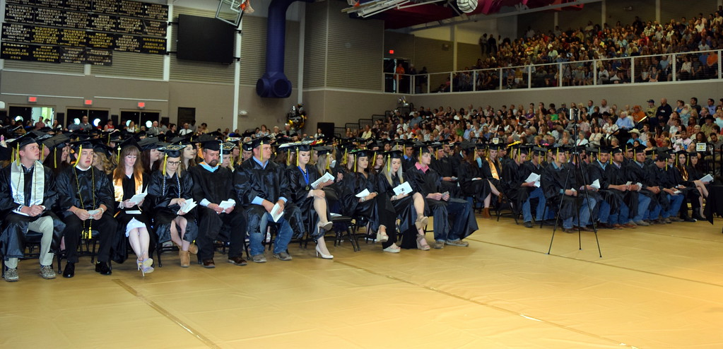 . Northeastern Junior College graduates listen to a speaker at the commencement ceremony Friday, May 17, 2019.