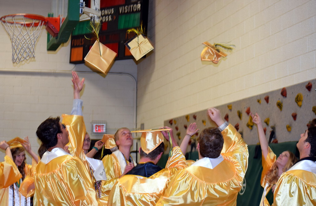 . Peetz School graduates celebrate at the conclusion of the Commencement Ceremony Sunday, May 12, 2019.