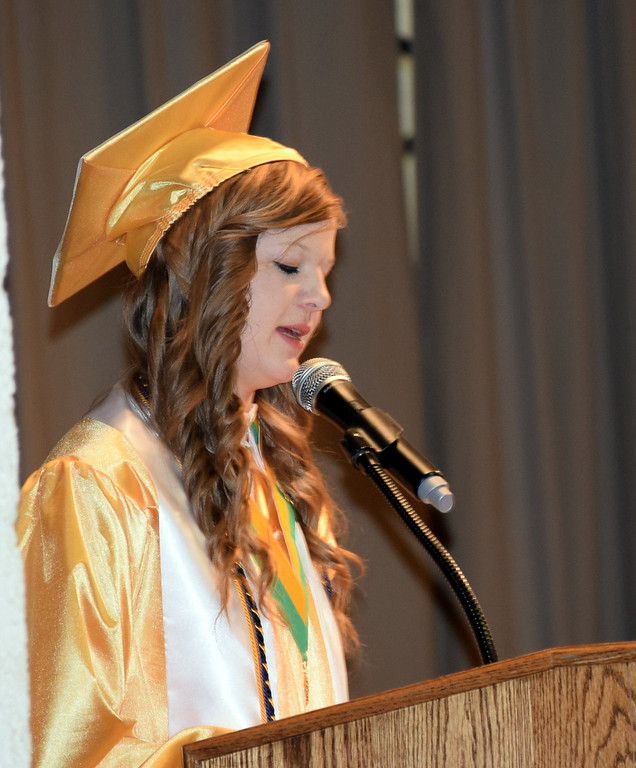. Salutatorian Nicole Burmester gives remarks at Peetz School\'s Commencement Ceremony Sunday, May 12, 2019.