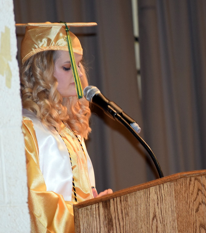 . Kylie Howell gives the benediction at Peetz School\'s Commencement Ceremony Sunday, May 12, 2019.