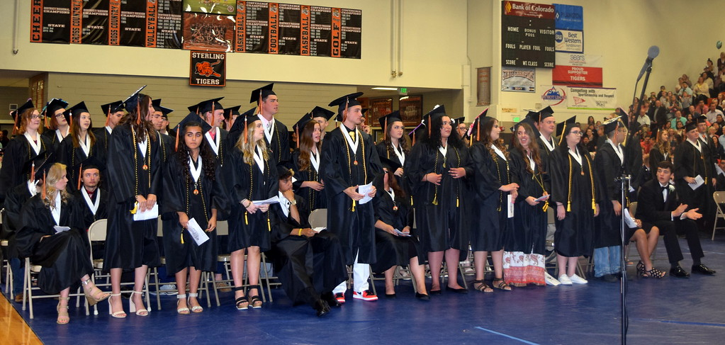 . Graduates who took at least one Northeastern Junior College course are recognized at Sterling High School\'s Commencement Ceremony Saturday, May 25, 2019.
