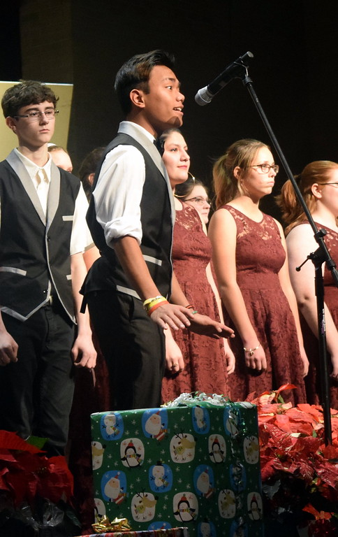 ". Jeremia Potyondy sings a solo during the Sterling High School Jazz Choir\'s performance of ""A Million Dreams\"" at Master Chorale\'s \""27th Noel\"" Christmas Concert Sunday, Dec. 9, 2018."
