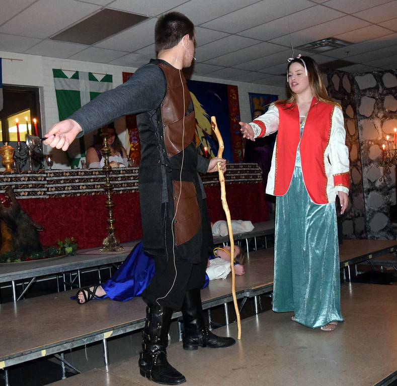 """. Sterling High School theater students give a performace of \""""Night, Night, Knight\"""" during the school\'s Madrigal Dinner Monday, Dec. 3, 2018."""