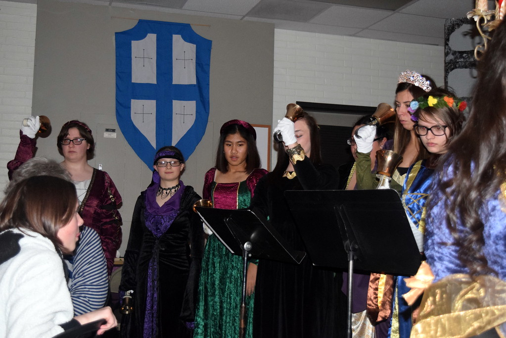 """. Handbell instrumentalists perform during Sterling High School MIxed Choir\'s performance of \""""Carol of the Bells,\"""" part of the school\'s Madrigal Dinner Monday, Dec. 3, 2018."""