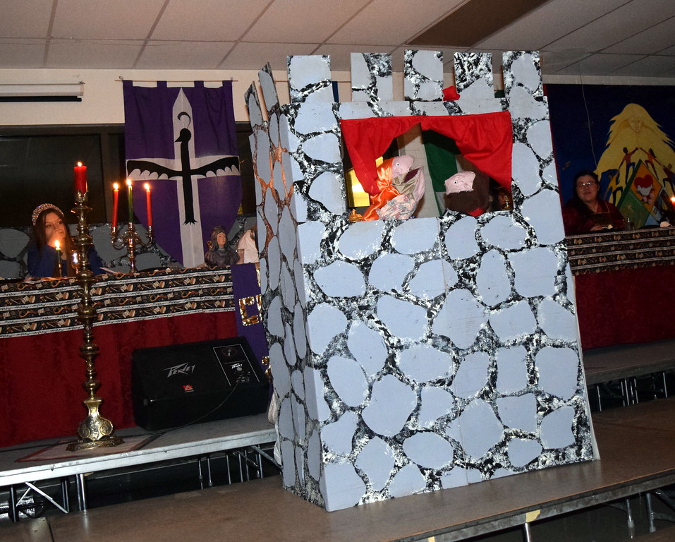 """. An odd puppet show was part of the theatrical production of \""""Night, Night, Knight\"""" during Sterling High School\'s Madrigal Dinner Monday, Dec. 3, 2018."""