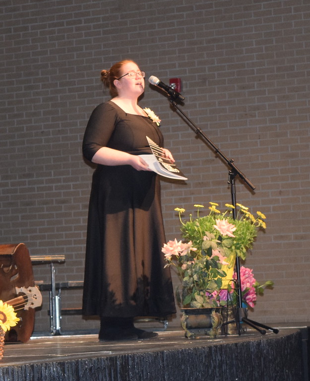 """. Darcy Trump sings a solo as the Master Chorale performs \""""Gloria to God in the Highest,\"""" part of the \""""Gospel Mass,\"""" at their 28th annual Spring Concert Sunday, May 5, 2019."""