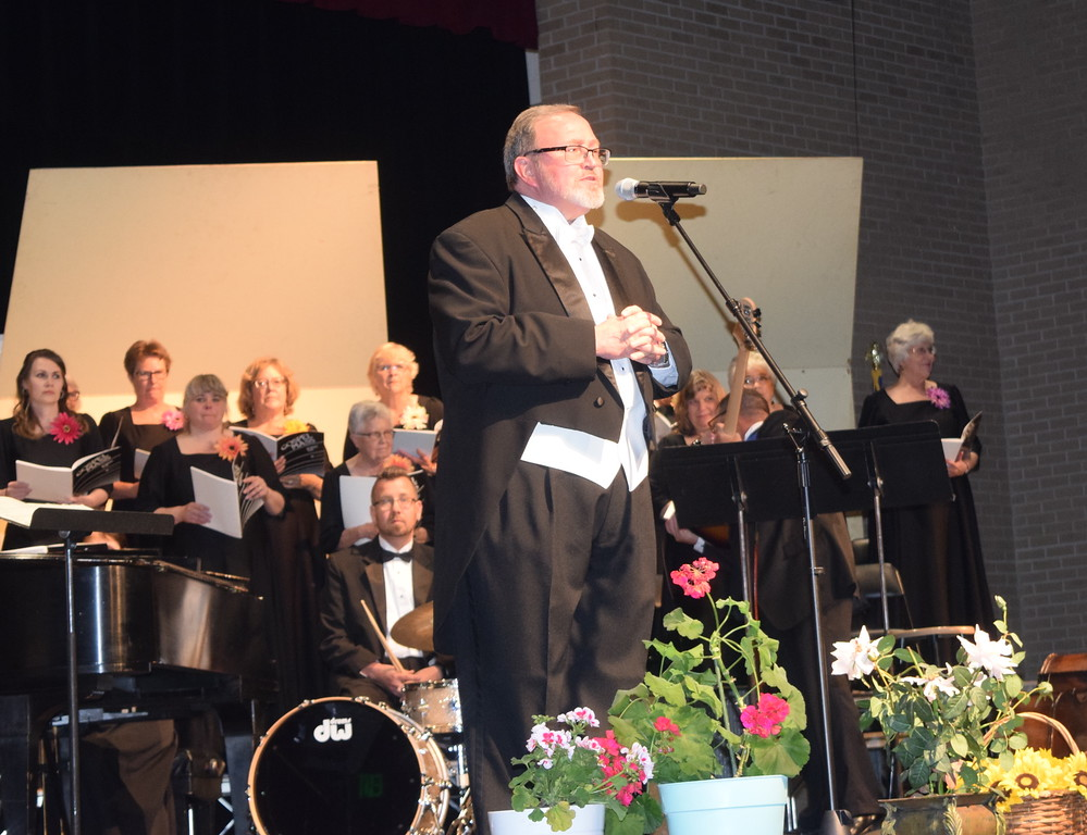 . Director Don Johnson welcomes guests to Master Chorale\'s 28th annual Spring Concert Sunday, May 5, 2019.