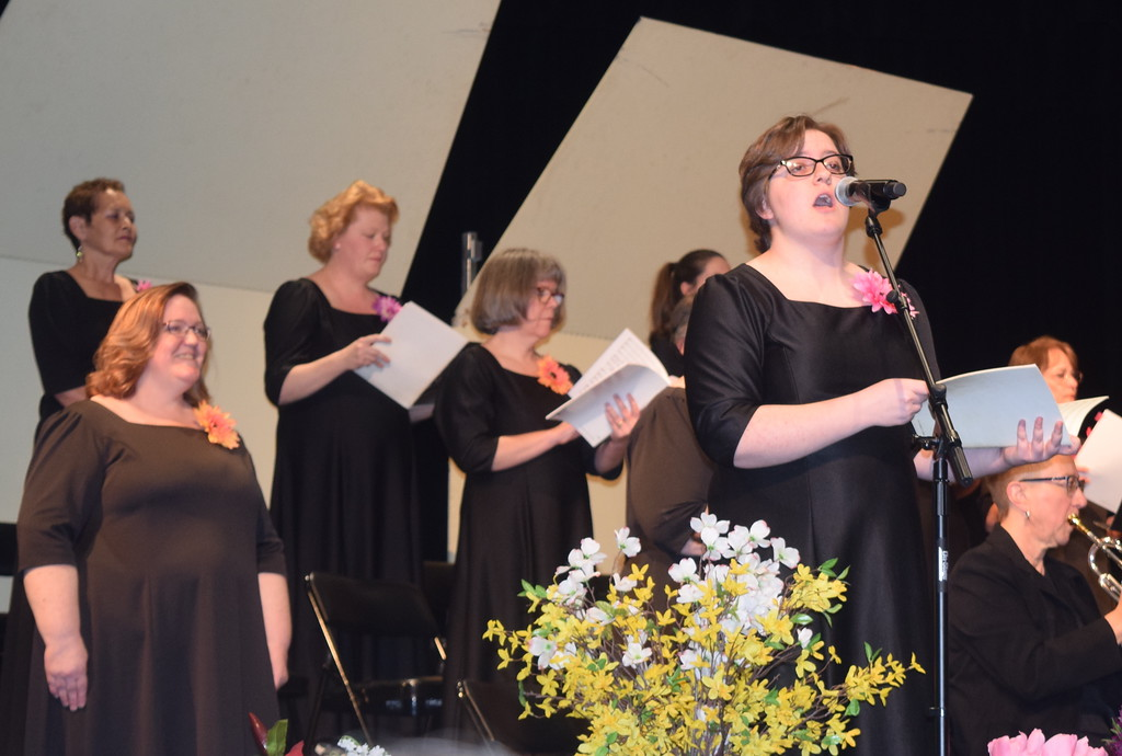 """. Camryn Trump sings a solo during Master Chorale\'s performance of \""""Gloria to God in the Highest,\"""" part of the \""""Gospel Mass,\"""" at their 28th annual Spring Concert Sunday, May 5, 2019. Behind her is another soloist, Jeneen Trump."""