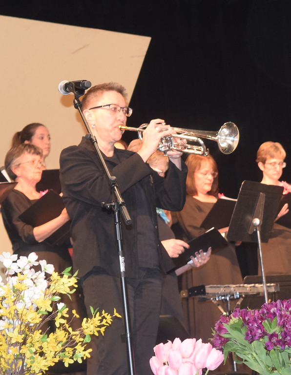 """. Kim Schlup plays a trumpet solo during Master Chorale\'s performance of \""""Follow Your Heart,\"""" part of their 28th annual Spring Concert Sunday, May 5, 2019."""