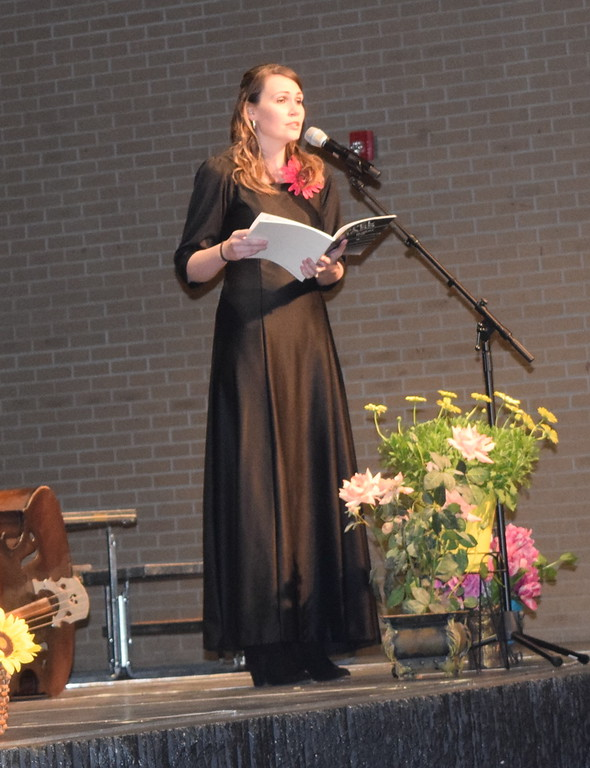 """. Jackie Yula sings a solo during Master Chorale\'s performance of \""""I Believe in God,\"""" part of the \""""Gospel Mass,\"""" at their 28th annual Spring Concert Sunday, May 5, 2019."""