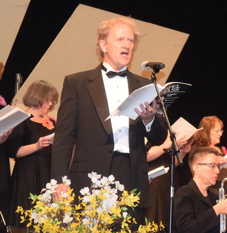 """. Jerry Skaggs sings a solo during Master Chorale\'s performance of \""""Holy Lord God of Hosts,\"""" part of the \""""Gospel Mass,\"""" at the chorale\'s 28th annual Spring Concert Sunday, May 5, 2019."""