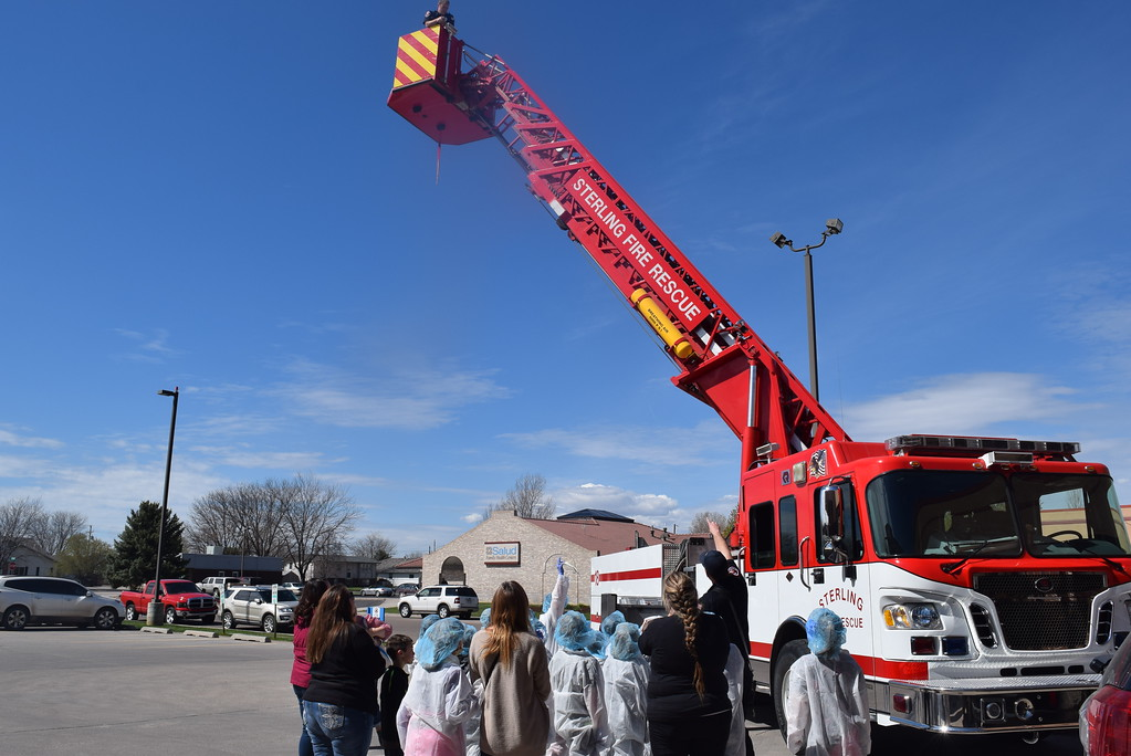 . Fleming and Merino Elementary third graders get a look at some of the equipment Sterling Firefighters use during a tour of Sterling Regional MedCenter Wednesday, April 24, 2019.