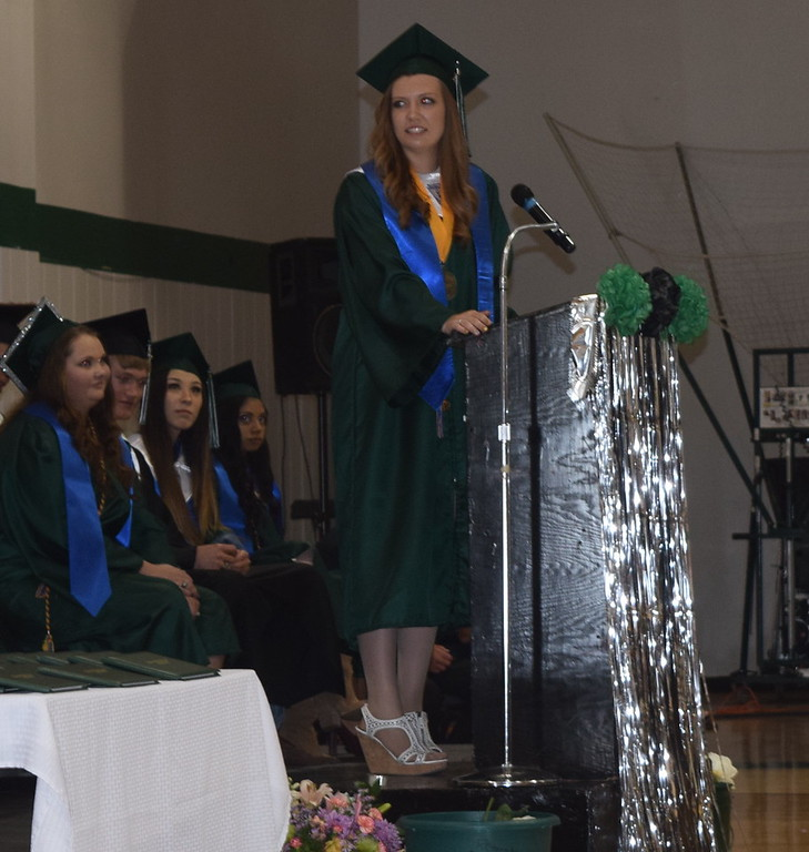 . Valedictorian Jessica Sigmon gives remarks at Fleming High School\'s commencement ceremony Sunday, May 14, 2017.