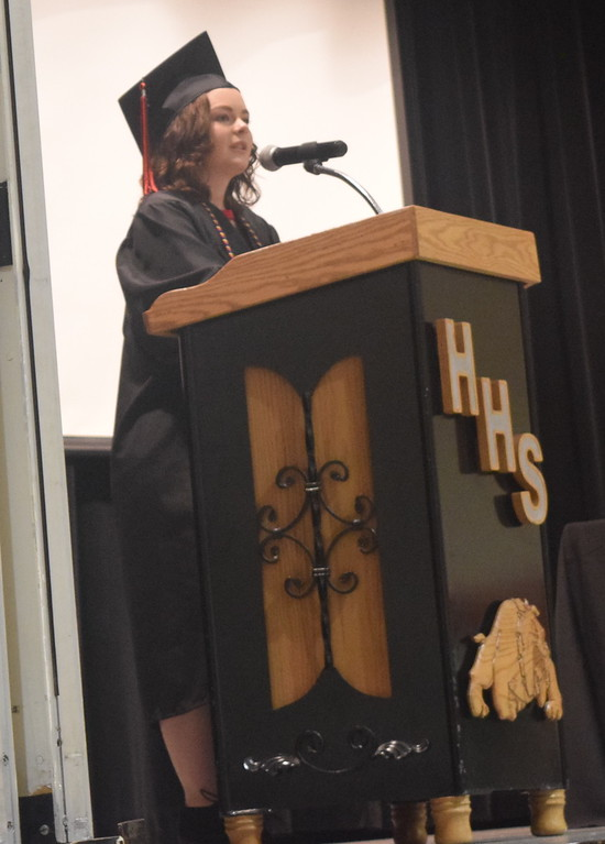 . Co-valedictorian Victoria Davis speaks about new beginnings at Haxtun High School\'s commencement ceremony Sunday, May 14, 2017.