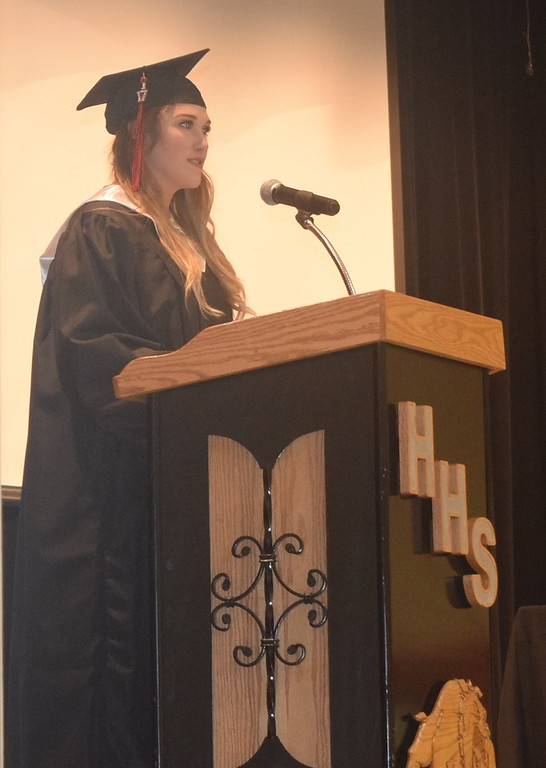 . Class president Josi Kurtzer welcomes guests to Haxtun High School\'s commencement ceremony Sunday, May 14, 2017.