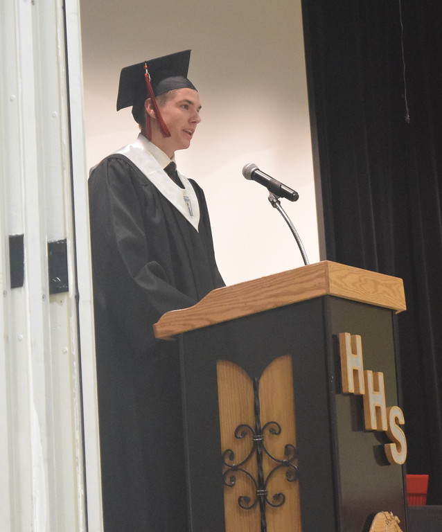 . Co-valedictorian Logan Fetzer gives remarks at Haxtun High School\'s commencement ceremony Sunday, May 14, 2017.