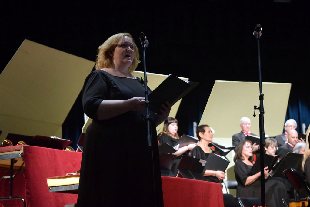 ". Jeneen Trump sings a solo during Master Chorale\'s performance of ""Mary Had a Baby\"" at their 26th Noel Christmas Concert Sunday, Dec. 10, 2017."
