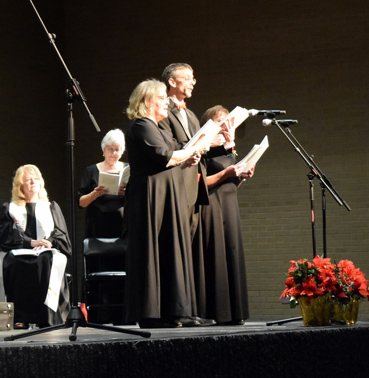 ". Connie Nelson, Deborah Harris and Mike Kiser sing a trio during Master Chorale\'s performance of ""Angel Band\"" at their 26th Noel Christmas Concert Sunday, Dec. 10, 2017."