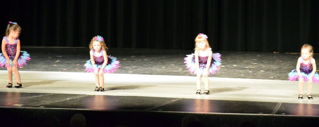 """. Olivia Swopp, Remmington Fernandez, Avery Jones, Avery Duvall-Young, Annabelle Tel and Bella Horton dance to \""""Boogie Baby\"""" at Melissa\'s School of Dance and Gymnastics\' \""""Dance In Motion\"""" recital Wednesday, June 13, 2018."""