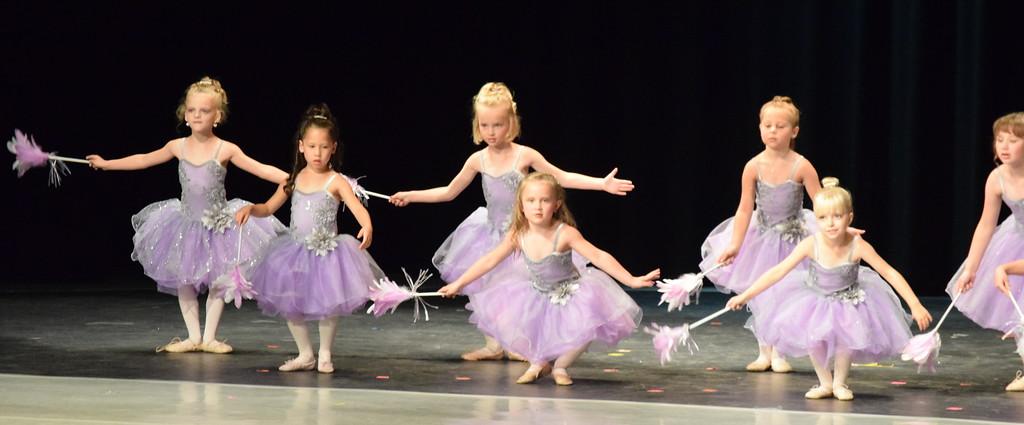 ". Ballerinas dance to \""Cinderella-The Work Song\"" at Melissa\'s School of Dance and Gymnastics\' \""Dance in Motion\"" recital Wedneday, June 13, 2018. Front row, from left; Evangeline Meraz, Laurel Murphy, amd Brinley Hect. Back row, from left; Mya DeMaria, Ameria Hughes, MaKenna Eastin, Lilly Johnson."