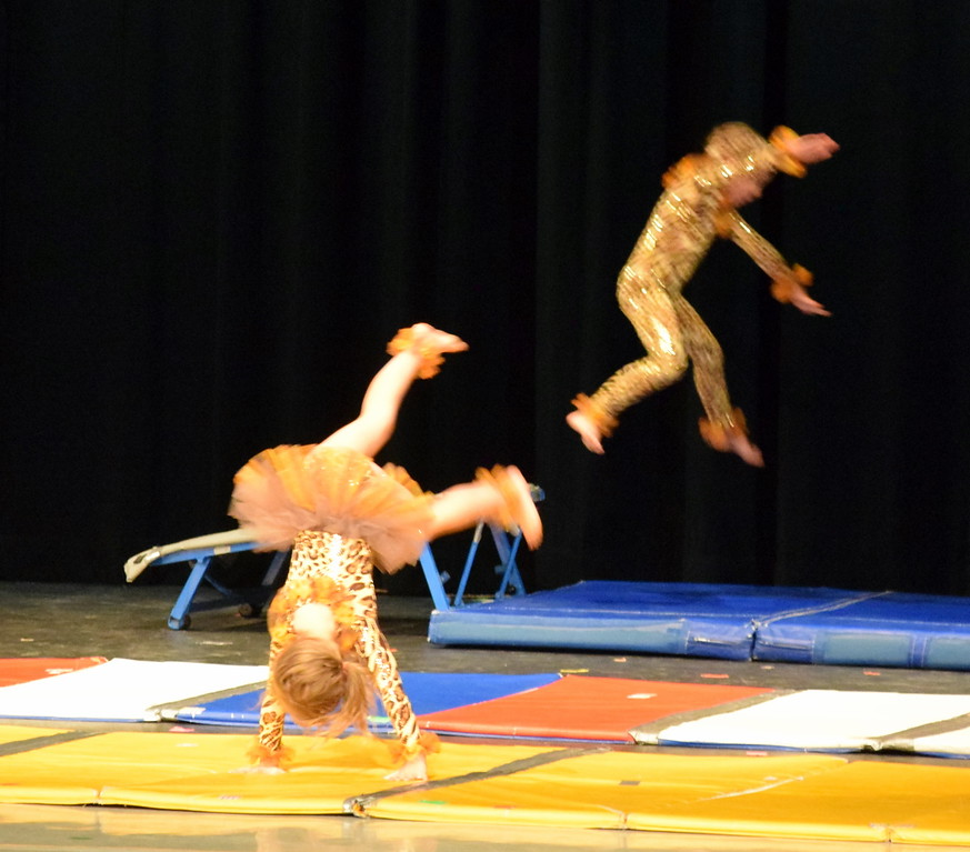 """. Gymnasts show off their skills to the song \""""Pink Panther\"""" at Melissa\'s School of Dance and Gymnastics\' \""""Dance In Motion\"""" recital Wednesday, June 13, 2018."""