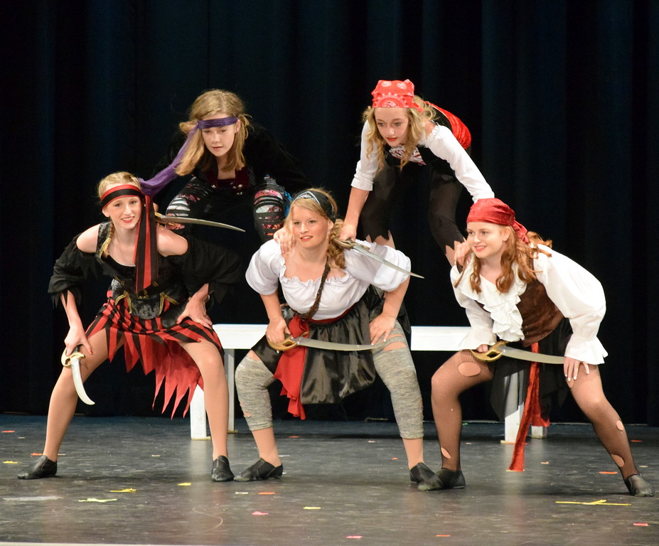 """. Emi Reeves, Connie Gassaway, Kayleigh Mackintosh, Cahlie Kerker and Molly Mitchel dance to \""""What\'s My Name?\"""" at Melissa\'s School of Dance and Gymnastics\' \""""Dance In Motion\' recital Wednesday, June 13, 2018."""