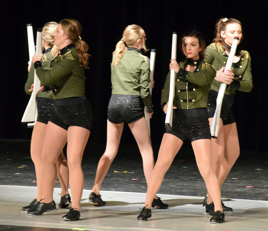 """. Emory Underwood, Sydney Wright, Madi Amen, Katie Masters and Sonja Hadley dance to \""""Military March\"""" at Melissa\'s School of Dance and Gymnastics\' \""""Dance In Motion\"""" recital Wednesday, June 13, 2018."""