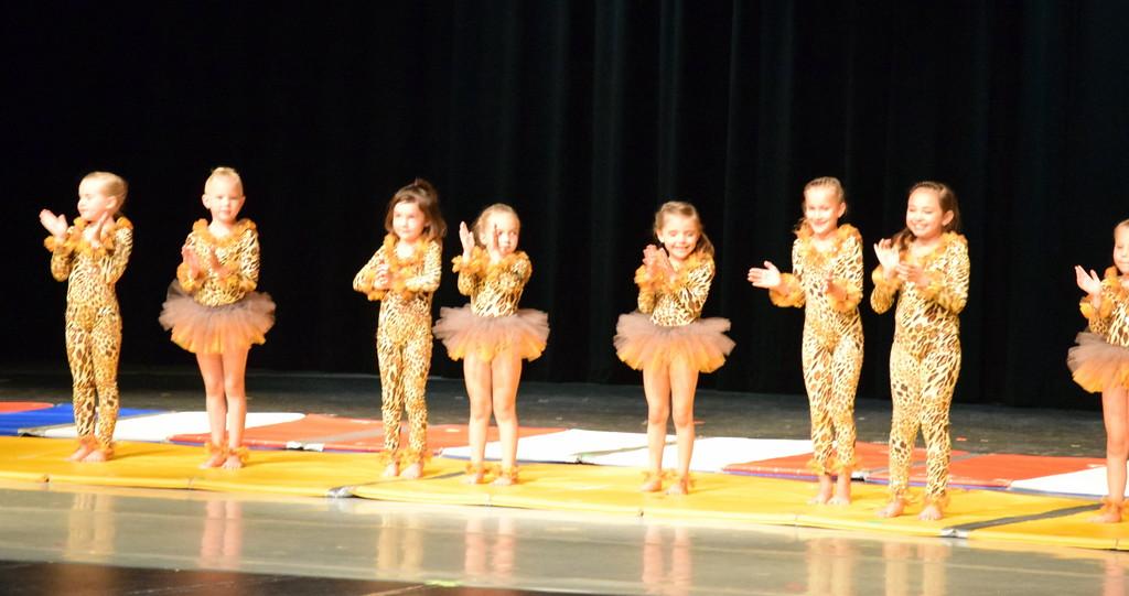 ". Chloee Kloberdanz, Mariah Perez, Adley Larraide, Victoria Hulbert, Syrie Richie, Gracie Abrahamson, Laurel Murphy, Aly Johnson, Alyssa Foos, Piper Dempcy, Bristol Cook, Mya DeMaria and Leila Warden dance to \""Pink Panther\"" at Melissa\'s School of Dance and Gymnastics\' \""Dance In Motion\"" recital Wednesday, June 13, 2018."