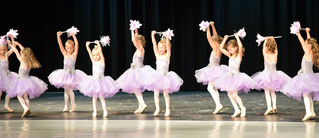 ". Ballerinas dance to \""Cinderella-The Work Song\"" at Melissa\'s School of Dance and Gymnastics\' \""Dance in Motion\"" recital Wednesday, June 13, 2018."