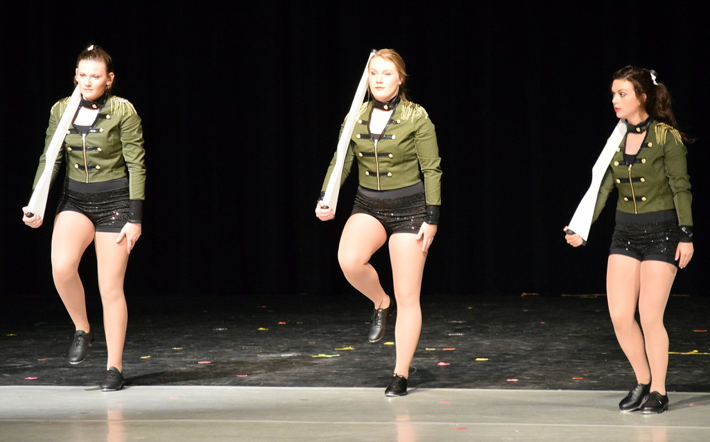 """. Katie Masters, Emory Underwood and Sonja Hadley dance to \""""Military March\"""" at Melissa\'s School of Dance and Gymnastics\' \""""Dance In Motion\"""" recital Wednesday, June 13, 2018."""