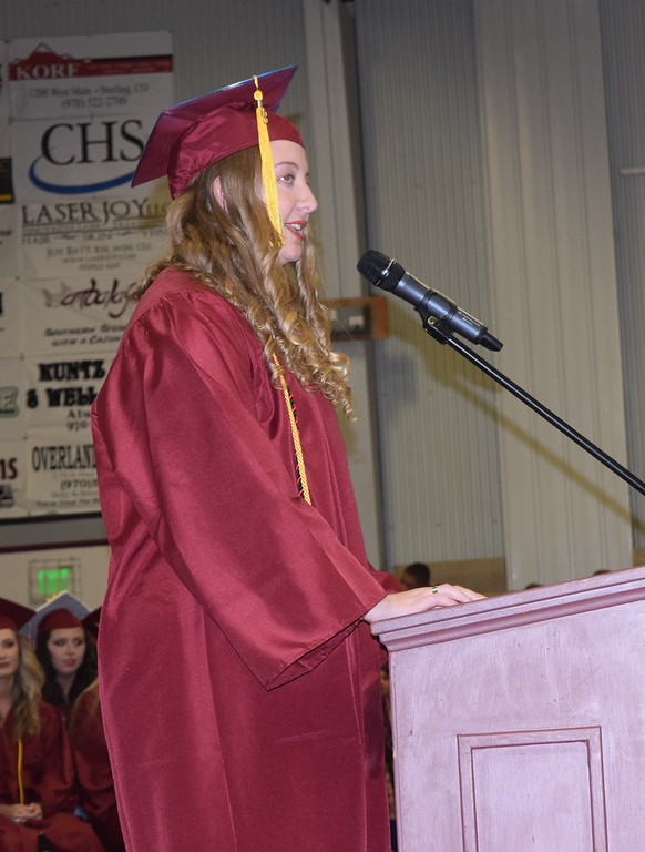 . Merino High School salutatorian Sierra Edgar gives remarks during the commencement ceremony Sunday, May 20, 2018.
