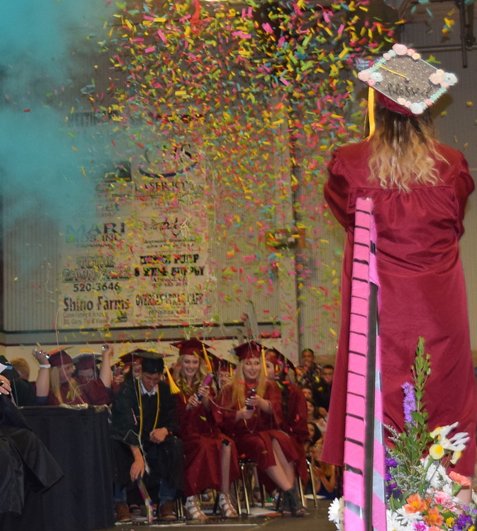 . Merino High School class of 2018 celebrates at the conclusion of the commencement ceremony Sunday, May 20, 2018.