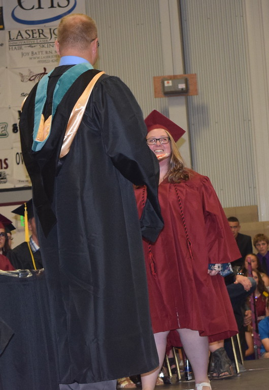 . Scholarship recipient Kaylee Henry is recognized during Merino High School\'s commencement ceremony Sunday, May 20, 2018.