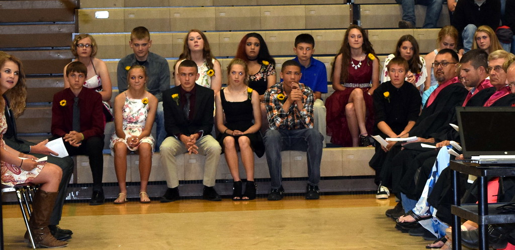 . The Merino Junior High School eighth grade class listens to remarks from class president Taysa Conger during the continuation ceremony Sunday, May 20, 2018.