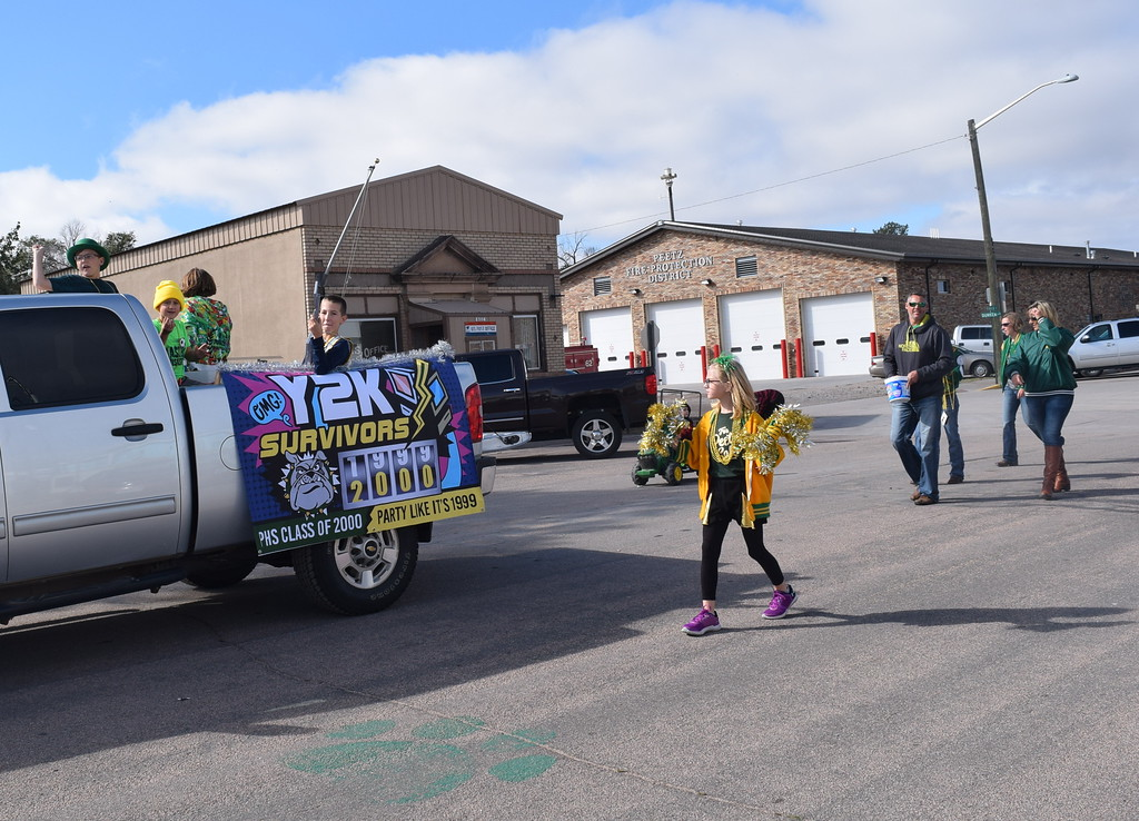 ". The Peetz High School Class of 2000 float declares that they are Y2K Survivors during the Peetz Sake Days ""Still on the Hill\"" Centennial Parade Saturday, Sept. 30, 2017."